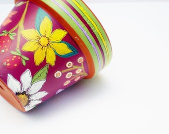 """Hand Painted Flower Pot 4 Inch Terracotta Planter """"Berry Delight""""-Ready to Ship"""