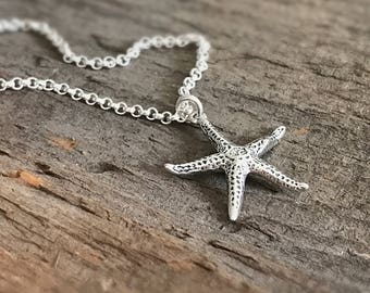 Starfish Sterling Silver Necklace, Beach Jewelry, Beach Lover, Gift for Her, Friend Gift, Bohemian Necklace, Bohemian Jewelry