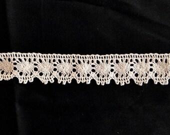 """Vintage Lace Trim, Crochet Lace, Cluny Lace Trim, Cotton Lace Trim, Lace Ribbon, Border Lace Trim – Ecru – Beige - 6 yards x 1-1/4"""" wide"""