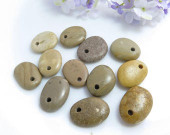 Top Drilled Beach Stones 12 pcs Jewelry Supplies- Eco Friendly Colorful Medium Beads Beach Pebbles for Jewelry Making Crafts DIY