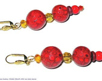 Red pearl and orange faceted earrings