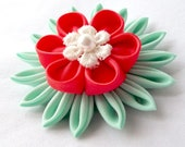 Coral and Mint Lily Pad Kanzashi Hair Flower for Spring