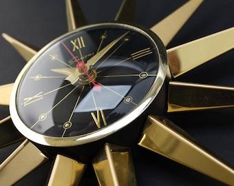 Vintage Starburst Wall Clock Sessions - Sunburst Atomic Eames Era Mid Century Modern 1950's 60's Black Brass