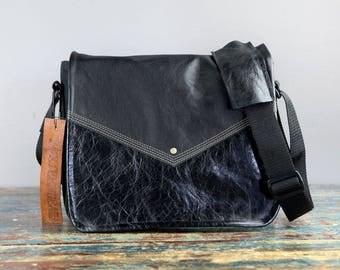 NEW - Leather Commuter Bag New Satchel  -  Black Teal Tartan Book Bag Ipad Tablet Bag Travel Bag Leather