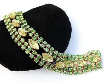 20% OFF SALE - Vintage Jonquil and Peridot Lava/Bumpy Navette and Peridot Rhinestone Bracelet