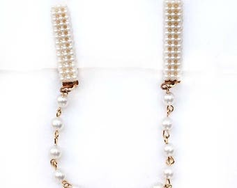 20% OFF SALE - Vintage Faux Pearl and Pearl Chain Sweater Guard / Clip