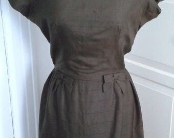 ON SALE 50s 60s Brown Silk Dress, Cocktail Dress, Front Bows, Size Small to Medium
