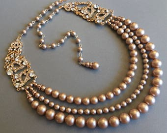 Pearl Backdrop Necklace in Rose Gold with Champagne pearls Great Gatsby style with rhinestone 3 strand Swarovski pearls in your color choice