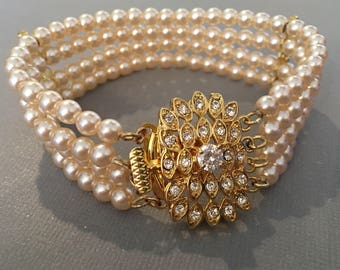 Classic Pearl Bracelet Ready to Ship in Gold and Ivory pearls 4 multi strands with rhinestone clasp and bars Great Gatsby wedding jewelry