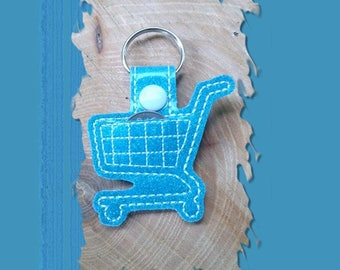 Shopping Cart Embroidered Key Fob, Key Chain, Luggage Tag, Bag Clip, Vinyl, Key Ring, Purse Charm, Loonie, Quarter, Aqua Turquoise Glitter