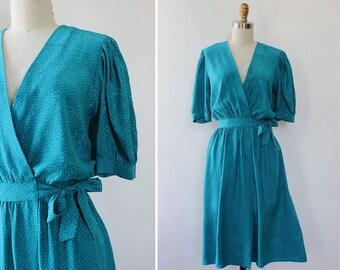 Vintage Silk Dress S/M • Maggy London Dress • 80s Silk Dress • Teal Dress • Flowy Summer Dress • Silk Summer Dress • Wrap Dress | D1350
