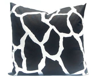 One Black Pillow Cover - Throw Pillow Cover - Black and White - Black Bedding - Black Pillow Shams - Sofa Pillow Covers - Cow Spot