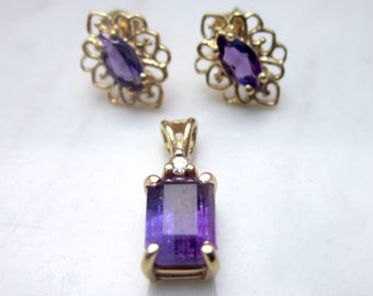 Vintage 14k Solid Yellow Gold Amethyst Pierced Earring Studs and Amethyst and Diamond Pendant