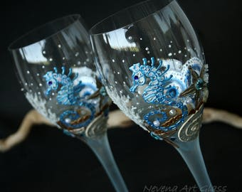 Wine Glasses, Beach Wedding, Seahorse Glasses, Starfish Glasses, Hand Painted, Set of 2