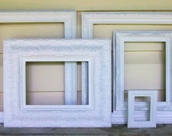Set of 5 Shabby Chic Bright White Ornate Picture Frames for Gallery Wall, Wedding Decor, Nursery Decor