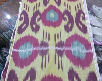 Uzbek traditional cotton woven ikat fabric by meter. Tribal, ethnic, boho fabric