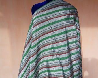 Uzbek vintage silk fabric Bekhasam by meter. Stripe fabric, uzbek silk. VI021