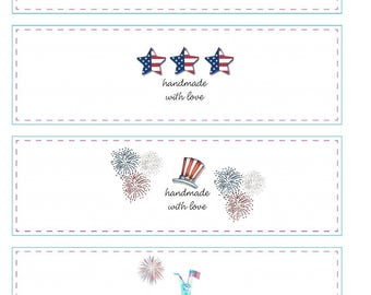 Printable Patriotic July 4th Memorial Day Cochet Wraps for dish cloths, wash cloths, baby items, PDF