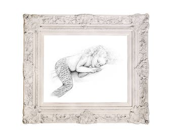 8x10 inch PRINT Baby Mermaid Art Sleeping Girl Toddler Graphite Pencil Drawing Black and White Art Signed