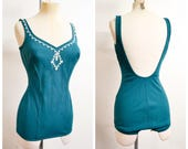 1960s 70s Green & white embroidered swimsuit / 1970s 60s low back st Michael bathing costume - L