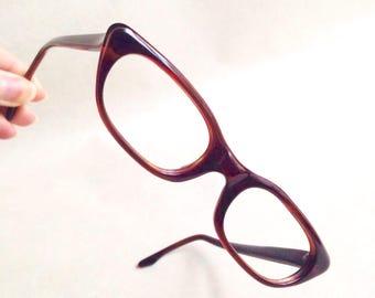 1960s Tortoiseshell red brown glasses frames / 60s artcraft cat eye reading spectacles sunglasses