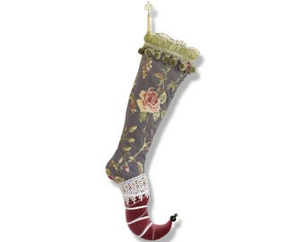 Luxury Christmas stocking Elf Lady Liliflora Gray Green Pink Floral Jacquard Velvet Lace Unique textile art piece Collectible