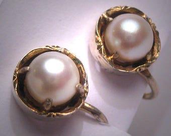 Antique Akoya Pearl Earrings Vintage Art Deco 7mm Gold Gilt Wedding c.1920