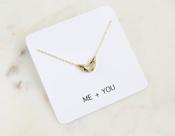 Me and You Necklace | Heart Necklace | Personalized Gift | Valentines Day Gift | Gift For Her | Dainty Necklace | Anniversary Gift