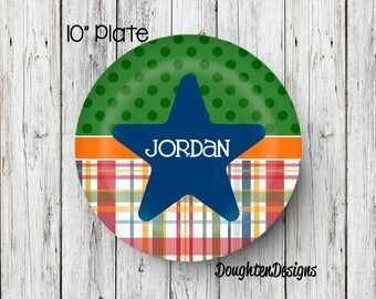 Personalized Melamine Plate, Star plate, Plaid kids plate, personalized kids plate, Personalized Plate, Kids Plate, Melamine Plate