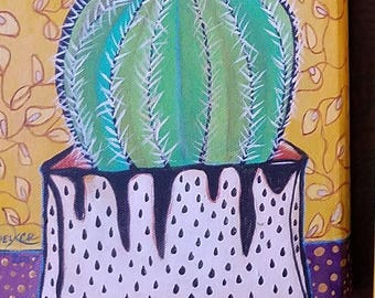 "RESERVED I - Garden Inspiration- Original acrylic painting  8""x8""-"