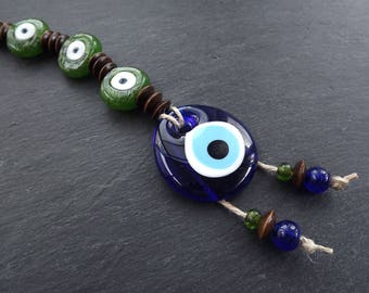 Green Brown Turkish Evil Eye Wall Hanging Home Garden Decoration with Evileye Traditional Artisan Beads - No:50