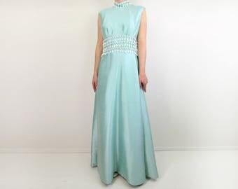 VINTAGE Lillie Rubin Gown 1960s Silk Beaded Dress