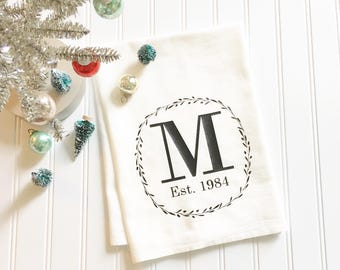 monogrammed kitchen towel, personalized tea towel, custom tea towel, wedding gift, gift for newlyweds, flour sack tea towel, kitchen decor