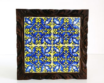 Vintage Tiled Wood Trivet / Chunky wood tray / Made in Mexico