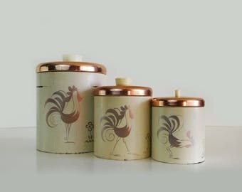 Vintage Rooster Canisters with copper lids - Ransburg kitchen canister