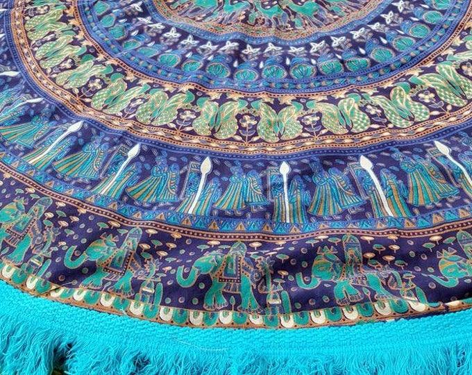 Stella Blue Mandala Roundie with Turquoise Fringe Mandala Tapestry Beach Blanket Yoga Mat Meditation Mat Dorm Decor Hippie Tapestry