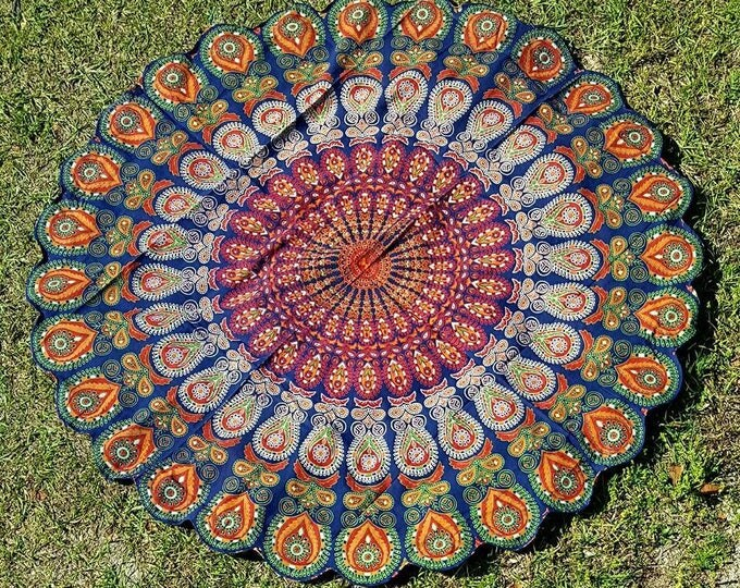 Traditional Peacock Mandala Roundie Mandala Tapestry Beach Blanket Yoga Mat Meditation Mat Dorm Decor Hippie Tapestry