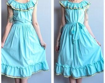 1940s Dress // Austin Square Dance Ruffle Dress // vintage 40s dress