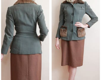 1940s Jacket // Luxurious Wool Crepe & Fur Jacket // vintage 40s jacket