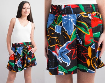 Vintage Sporty Hawaiian Shorts * Black Red Blue Green Floral Print * Size Small – Medium * FREE SHIPPING