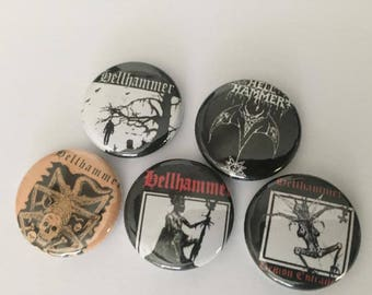 """Hellhammer 1"""" Pins Buttons Badges Set of 5 Celtic Frost Black Metal Thrash Death"""
