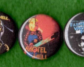 "Motel Hell 1"" Pins Buttons Badges Set of 3 Campy Cult Horror B-Movie 1980s"