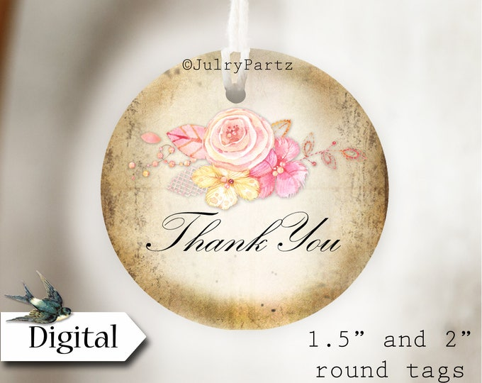 DIY PINK LACE•Thank You Tags•Printable Tags•Digital Tags•Favor Tags