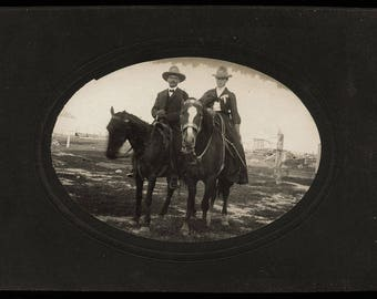 THREE Vintage Photos Ranchers and Camp Scene + Cowboy & Cowgirl on Horses / Texas