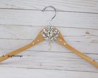 Wedding Hanger, Bridal Dress Hanger, Bridal Party Hangers, Bridesmaid Dress Hanger, Bling Rhinestone Hanger. Swarovski Crystal, Custom Made