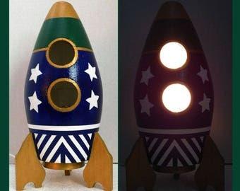 Rocket Ship, Boys Nightlight, Table Lamp Rocket ship, Boys Room, Lighting, Home Decor, Night Light, Gift, Ultra Blue and Red