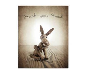 FLASH SALE til MIDNIGHT Little Donkey, Brush Your Teeth, Photo Print, Childrens Room, Bathroom Decor, Wall Art, Nursery Decor