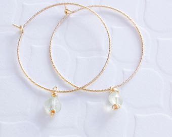 Tiny Gem Hoops, Gold Filled, Prehnite Stone, Ready to Ship