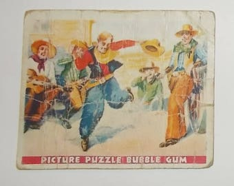 Vintage 1933 Wild West Series Picture Puzzle Bubble Gum Card-#19-Cowboy Fun-FREE SHIPPING!