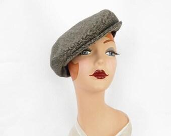 Vintage newsboy hat, vintage 1960s, herringbone tilt, boyfriend cap